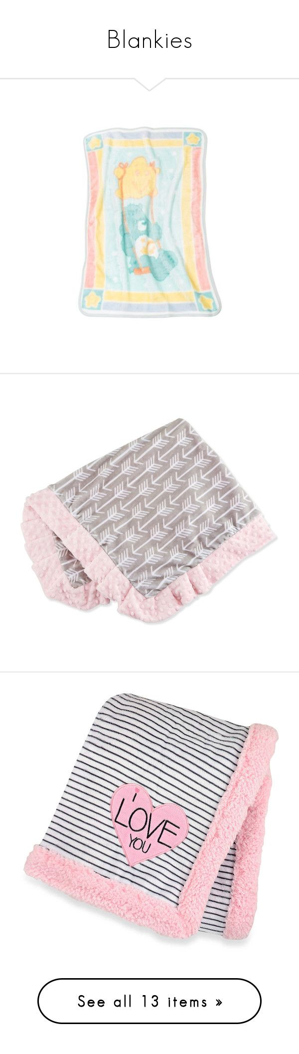 """""""Blankies"""" by daddies-baby-bear ❤ liked on Polyvore featuring home, children's room, children's bedding, baby bedding, kids baby blankets, pink, baby, blanket, bed & bath and bedding"""