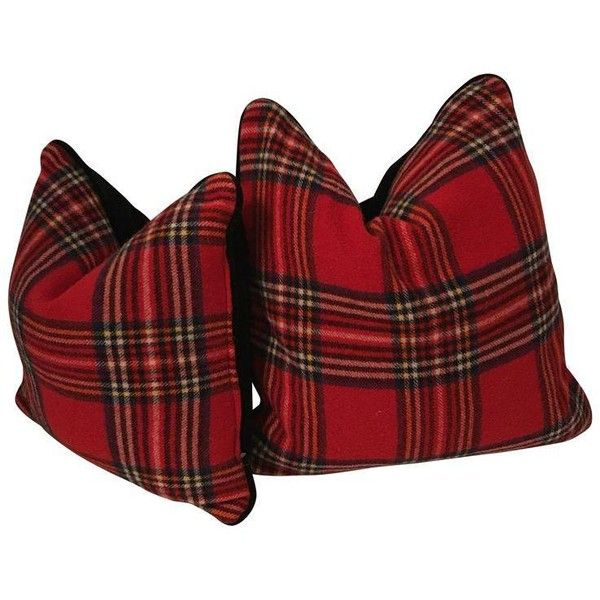 Red Plaid Pillows Created From Vintage Stadium Blankets - A Pair ($198) ❤ liked on Polyvore featuring home, home decor, throw pillows, pillows, red throw pillows, tartan throw pillows, plaid throw pillows, holiday throw pillows and red toss pillows
