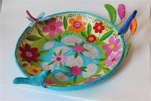 Papier mache bowl days of happiness gardens Diameter 65 cm depth 12 cm