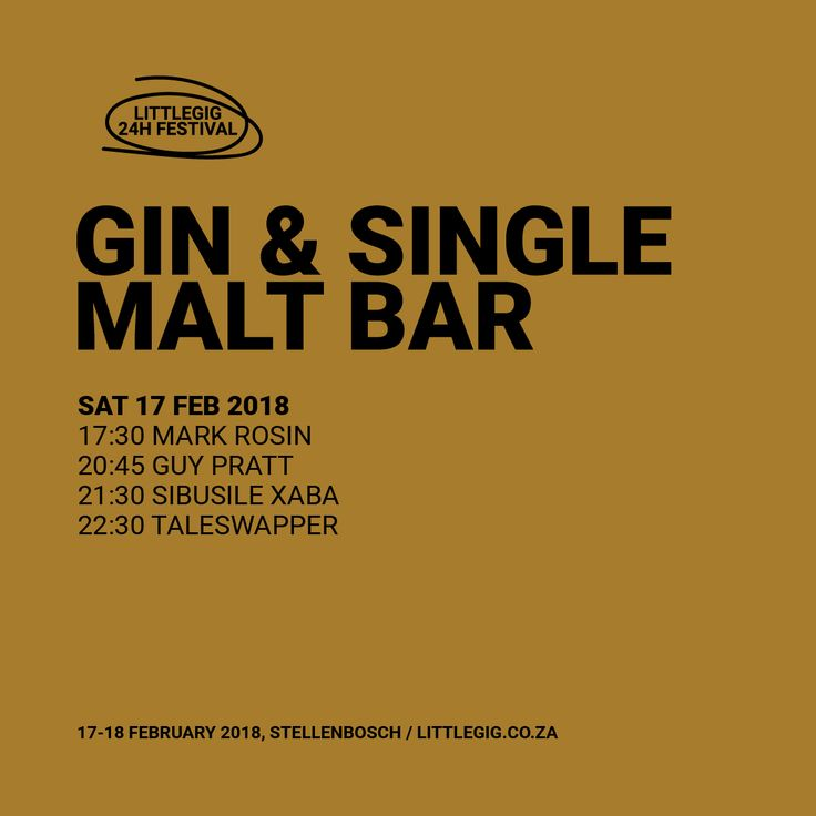 The Gin & Whiskey Bar is late night live music joint for those who enjoy a good single-malt.  Mark Rosin / Guy Pratt / Sibusile Xaba / Taleswapper