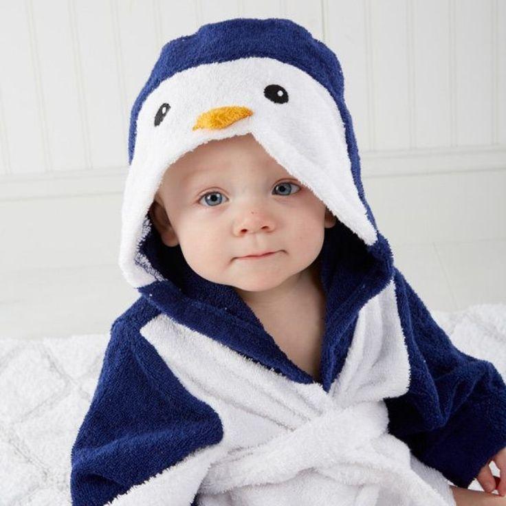 Peignoir bébé 100% coton blanc pingouin.