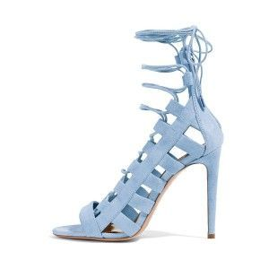 FSJ Gladiator Sandals Peep Toe Sandal Heels Light Blue Sandals Comfortable Women's Light Blue Strappy Hollow Out Stiletto Heel Gladiator Sandals Summer and Fall Outfits Strappy Sandal Heels