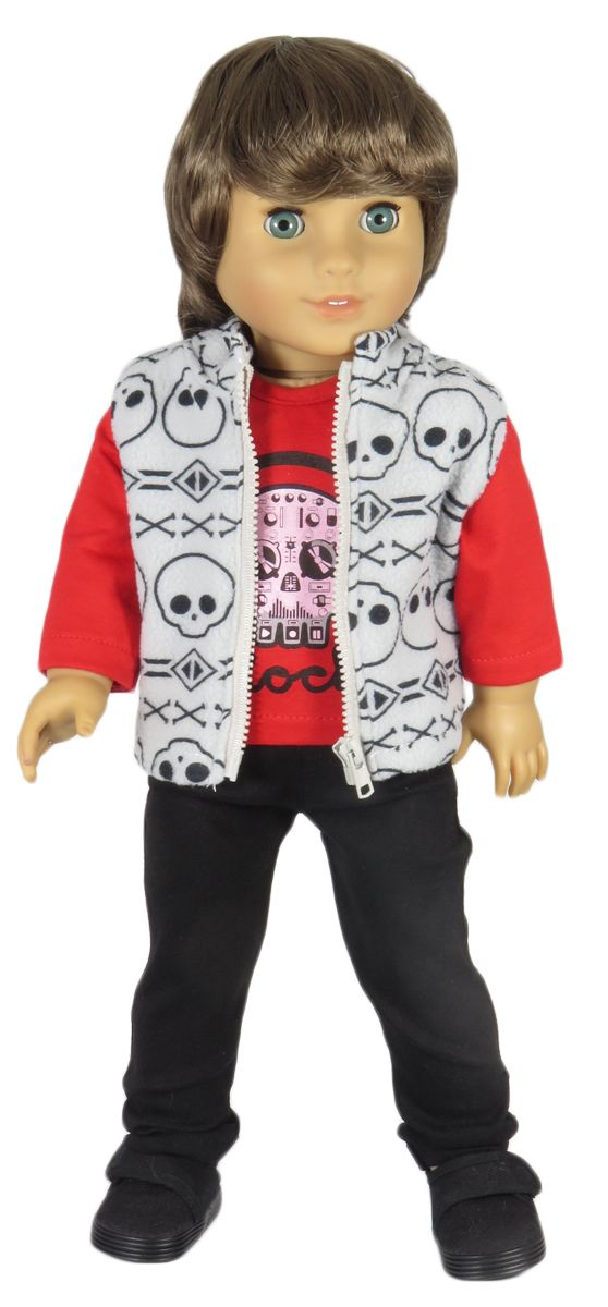 American Boy Doll Clothes Outfit.   Silly Monkey - Skull Vest, Top, and Black Pocket Pants, $21.99 (http://www.silly-monkey.com/products/skull-vest-top-and-black-pocket-pants.html)