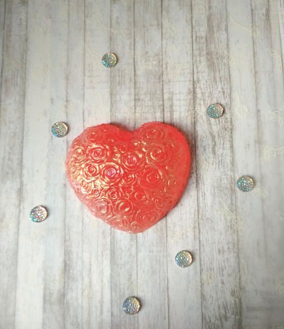 Red rose heart glycerin pink soap Cherry Sweet heart shaped
