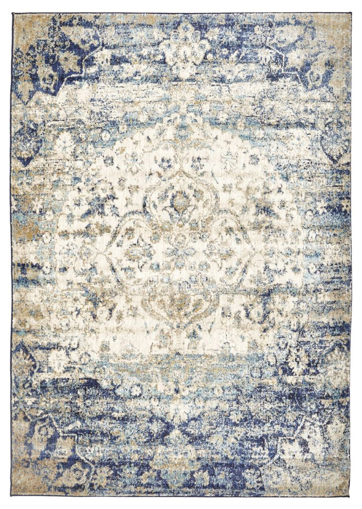 Arak is a transitional rug featuring an intricate floral motif in shades of blues and beige with an abrash treatment. Abrash describes the intentional colour variations that mimic the fading or overdyed effect on antique oriental rugs. This whimsical beauty is created from heat-set polypropylene making it silky smooth to touch and has a 10mm pile.