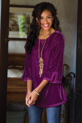 Velvet Weekender from Soft Surroundings. -  Beautiful purple velvet