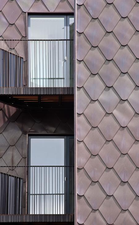 cladding - oxidised copper 'scales' - Field Street, King's Cross, London - Project Orange