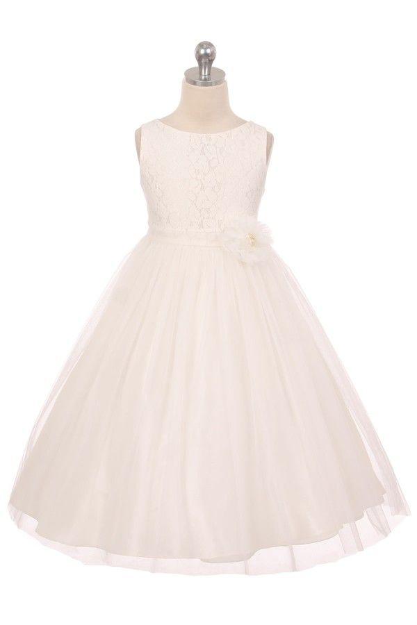 Gisella. Off-white/ivoren bruidsmeisjesjurk met kanten lijfje en tule rok. Kinderbruidsmode, kinderbruidskleding, bruidsmeisjes jurken, bruidsmeisjes jurk, bruidskinderen, bruidskinderkleding, flower girls.