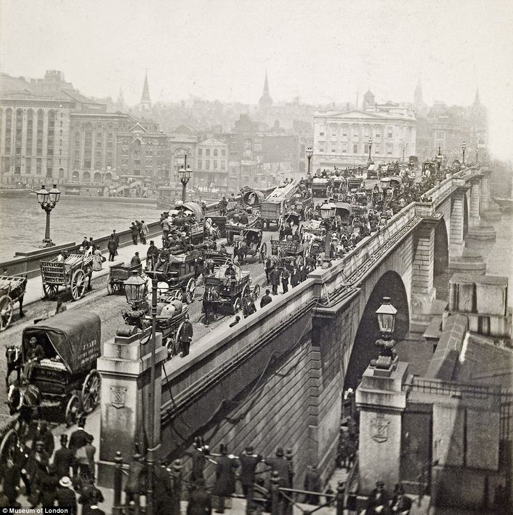 Turn of the century: Despite the lack of cars, John Rennie's London Bridge was a hive of p...