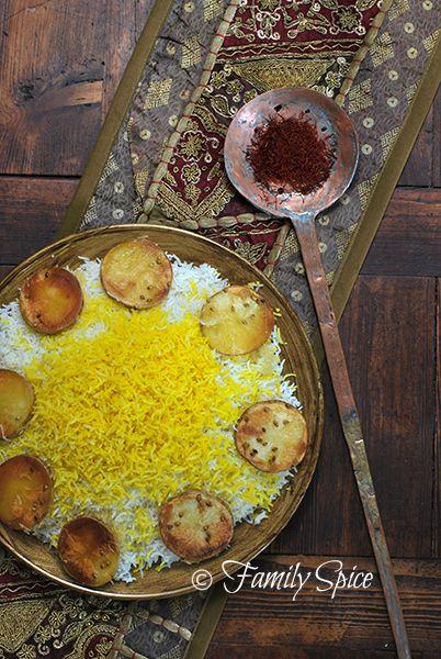 Delicious Persian Rice Recipe w/ Potato Crust. See video recipe here: http://www.youtube.com/watch?v=7hHzsNh8HmI