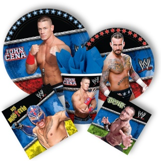 The WWE Party Supplies also feature WWE themed tableware, plates, napkins, cups, and party kits. Add our WWE party favors, decorations, and invitations to our WWE Party Supplies and fight to the finish! Mix and match WWE Party Supplies with our solid color tableware for a custom birthday theme.