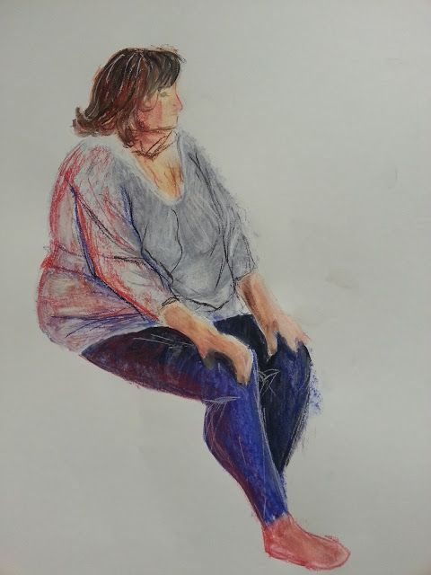 Life drawing: Pushing colours. First time using pastels with water