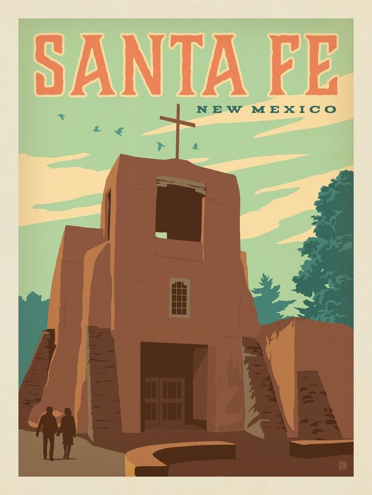 1950 Santa Fe Southern California Vintage Style Travel Poster 18x24