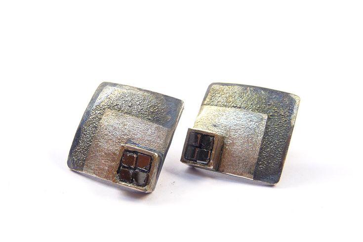 Ohrschmuck Silber / Platin, Diamantwürfel