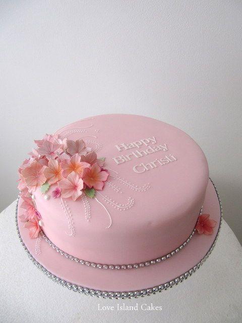 Modern Sugar Flower Birthday Cake