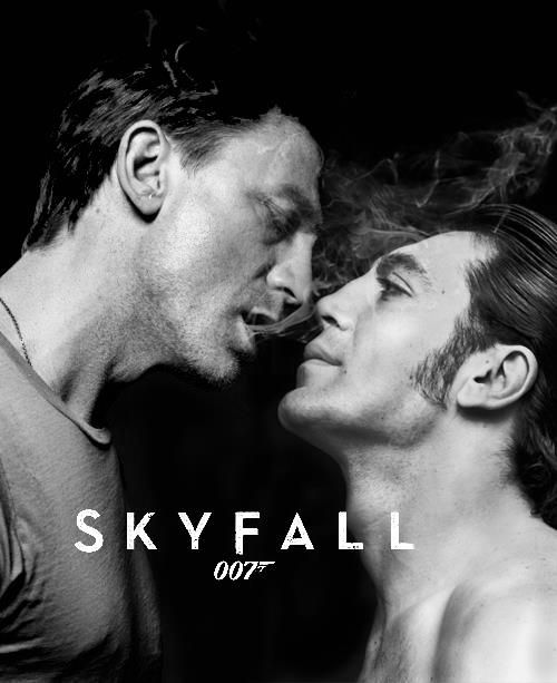 A very sexy, homo-erotic Skyfall movie poster. (What country did this run in?! Definitely NOT the U.S.) Bizarre...