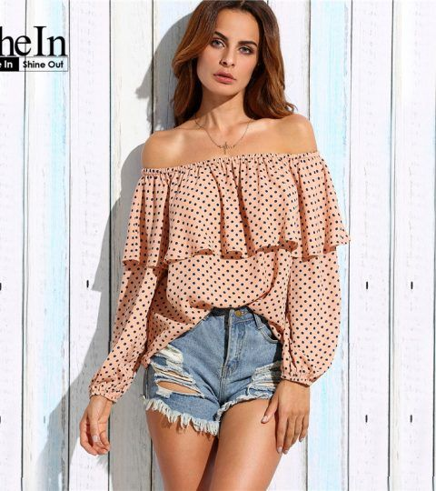 SheIn Womens Tops and Blouses For Autumn Ladies Casual Pink Polka Dot Long Sleeve Ruffle Off The Shoulder Blouse
