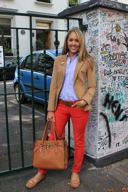A tan corduroy blazer jacket and red skinny jeans will give off this very sexy and chic vibe. Dress down this getup with tan suede flats.  Shop this look for $94:  http://lookastic.com/women/looks/blazer-dress-shirt-belt-skinny-jeans-tote-bag-ballerina-shoes/6742  — Tan Corduroy Blazer  — Light Blue Dress Shirt  — Brown Leather Belt  — Red Skinny Jeans  — Brown Leather Tote Bag  — Tan Suede Ballerina Shoes