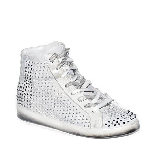 Sneakers in camoscio ghiaccio sfumato con strass decorativi di lato e rialzo di 4 cm all'interno.