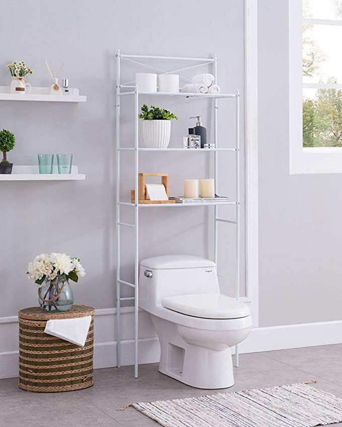 Amazon Com None White Metal 3 Shelf Bathroom Space Saver Storage
