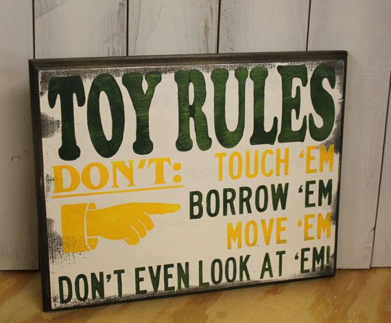 TOY RULES Sign/Childrens Room/John Deere Colors/Yellow/Green/Play Room Sign on Etsy, $19.95
