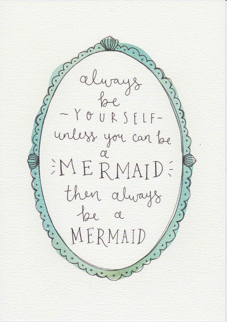 Mermaid Quote, Gift For Kids and Babies, Baby Girl Nursery Wall Art, Kids Room Decor, Girls Room Art, Watercolor Painting, Mermaid Print by violetandalfie on Etsy
