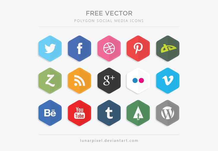 Free Vector Polygon Social Media Icons