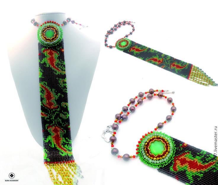 Купить Колье- галстук - коричневый, галстук, галстук ручной работы, галстук из бисера, галстук женский