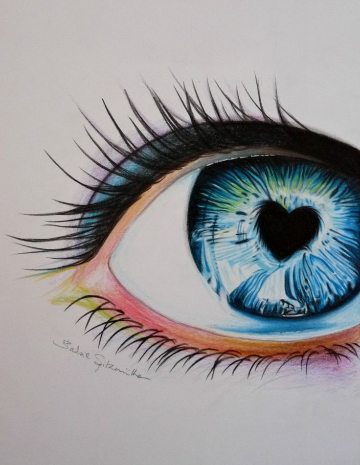 Drawing eye coloured