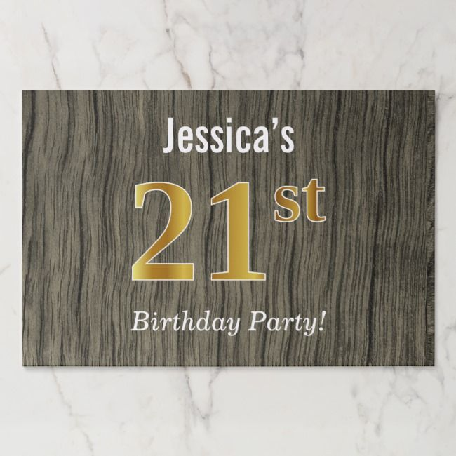 Faux Wood Faux Gold 21st Birthday Custom Name Paper Placemat Zazzle Com Birthday Greeting Cards Custom Yard Signs 41st Birthday