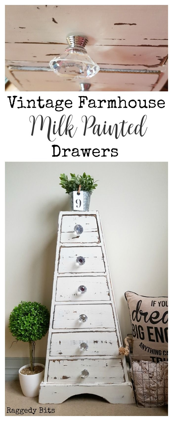 A friend was going to throw these drawers out but luckily thought of me and that I might be able to do something with them. So with some Miss Mustard Seed Milk Paint - Farmhouse White and my paintbrush I gave them a fun new look | Vintage Farmhouse Milk Painted Drawers | Full tutorial | www.raggedy-bits.com