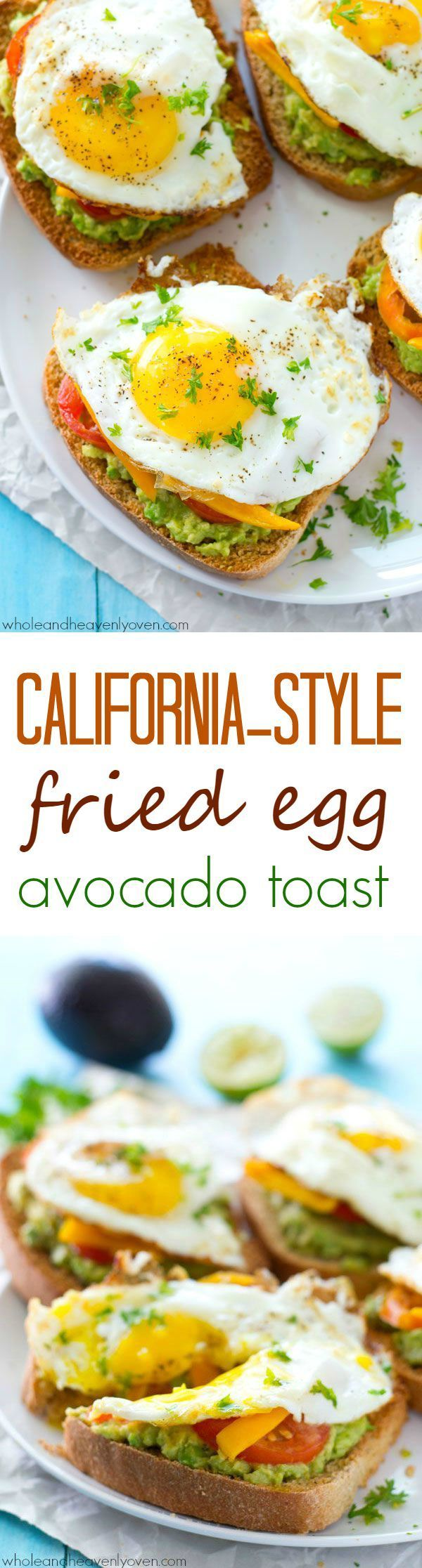 Avocado toast is given a fun California-style twist! This ultimate breakfast toast is piled with lots of smashed avocado, fresh veggies, and a beautiful fried egg on top.