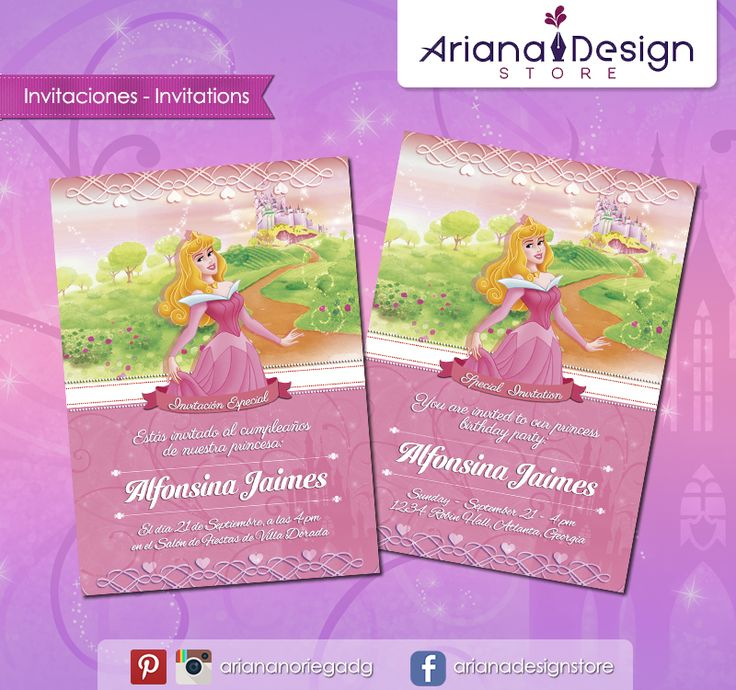 #printable #invitation #disneyprincess #sleepingbeauty #belladurmiente #arianadesignstore #invitacion #fiestainfantil #cumpleaños #aurora #princesadisney