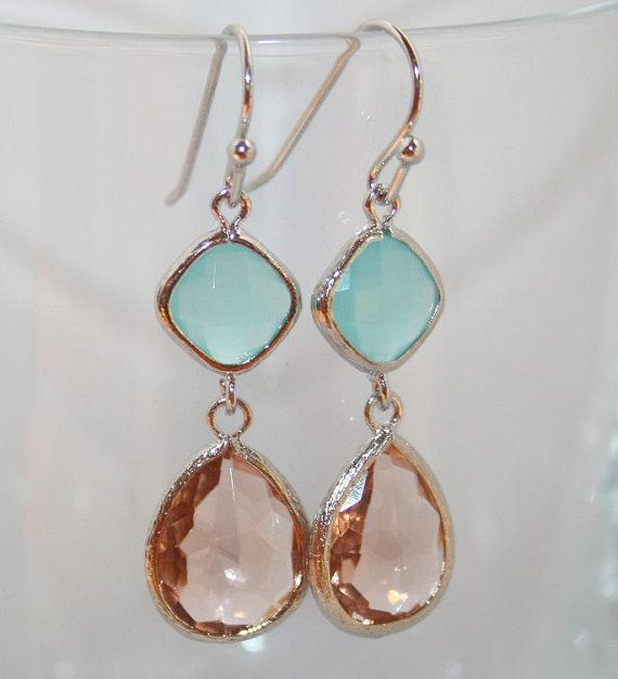 Pink Champagne and Mint Wedding Earrings Peach Mint by AngelPearls, $28.00