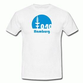 Hamburg T-Shirt Fernsehturm mit Vorwahl 040 Hamburg