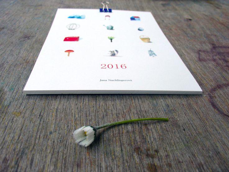 Kalendář 2016 Nástěnný kalendář pro rok 2016 Autorské ilustrace, akvarel. 13 listů, 15 x21,5 cm, vytištěn na jemně krémovém, matnémpapíře (250 gr). (c) Jana Nachlingerová 2015