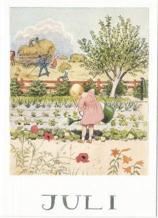 Sommer - Postkarte Jahreszeitentisch Juli - ein Designerstück von Barbarillia bei DaWanda