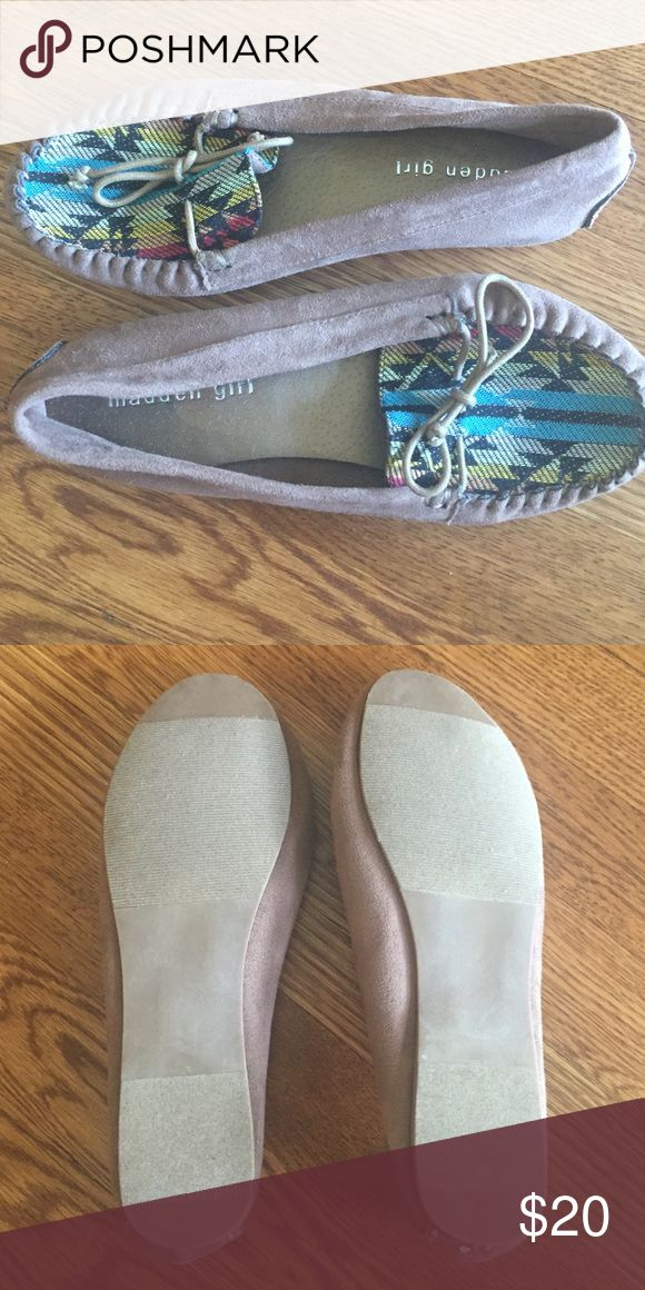 Suede tribal moccasins - worn once! Dark taupe suede Madden Girl moccasins with tribal toe print. Worn once, in great condition! Size 7.5 but fit a 7. Madden Girl Shoes Moccasins