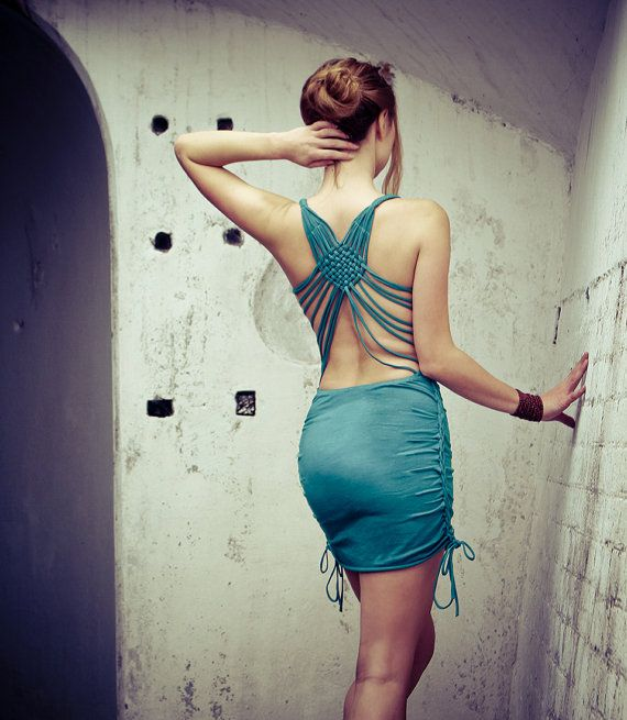 Little Aqua dress woven macrame back and sides details by Shovava, $78.00