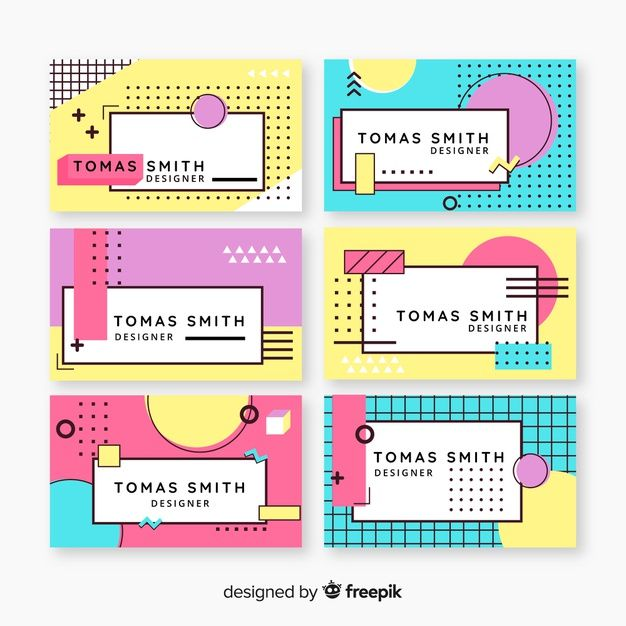 Memphis Style Business Card Template Learning Graphic Design Powerpoint Presentation Design Presentation Design Layout