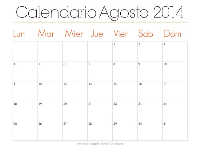 Calendario de Trabajo      Agosto 2014