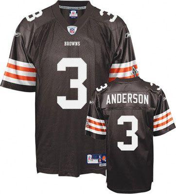 Reebok Cleveland Browns Derek Anderson 3 Brown Authentic Jersey Sale