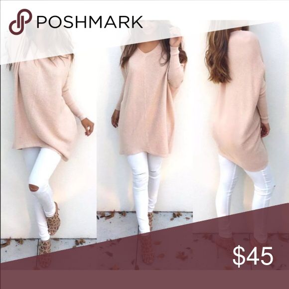 Oversized V Neck Sweater in Soft Pink  Oversized VNeck Sweater in Soft PinkBrand New! Available in XSmall & Small These are similar to The Samantha but are sized for Petite and Smaller Medium weight Cotton/poly blend. Perfect for Spring Sweaters V-Necks