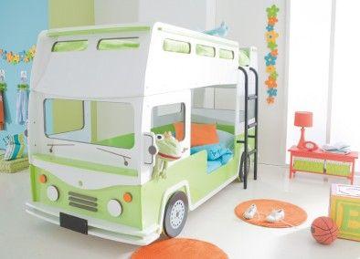 En bus i neutralle farver - god til dreng/pige værelset Bussy Køjeseng