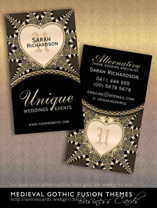 Medieval Vintage Gold Unique Wedding Business Cards New