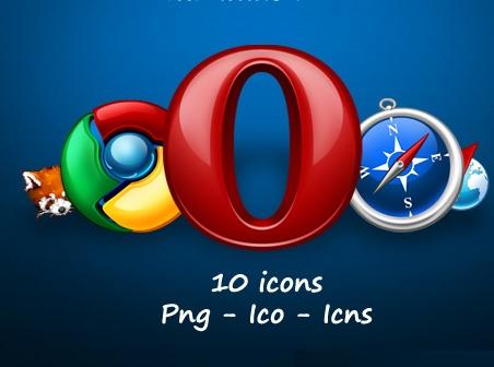 0 icons in Png - Ico - Icns Firefox - Chrome - Opera - Safari (2 versions) - Internet Explorer (2 versions) - Konqueror Download icon - World , Internet icon