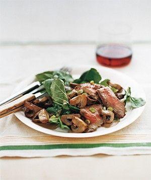 Steak With Arugula and Balsamic MushroomsFood Recipes, Easy Steak, Mushroom Recipes, Mushrooms Recipe, Steak Recipe, Steak Dinner, Balsamic Mushrooms, Arugula, Real Simple