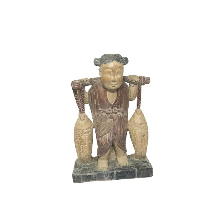 Large Chinese Wood Carving of Girl Carrying Two Fish https://www.etsy.com/listing/577329486/large-chinese-wood-carving-of-girl?utm_campaign=crowdfire&utm_content=crowdfire&utm_medium=social&utm_source=pinterest