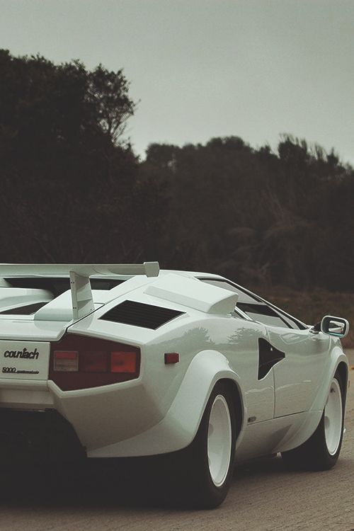 White Lamborghini Countach 25th Anniversary rear...one of my first ad shots using a car like this for HB cigarettes in Germany.