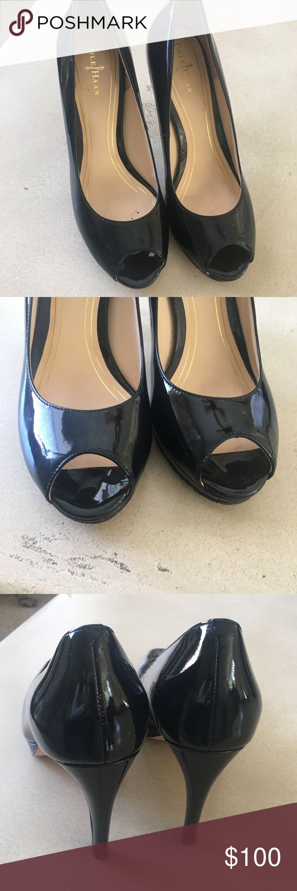 """Cole Haan Nike Air leather pumps Cole Haan Chelsea Nike Air peep toe  Patent Leather black pumps 3,75"""" heel Worn only once, great condition. I'm only selling because should have purchased a larger size. Cole Haan Shoes"""